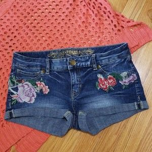 Express Embroidered Floral Jean Short Shorts 4